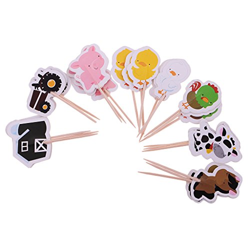 MagiDeal 24 Stück / set Cake Topper, Bauernhof Tier Form, Tortenstecker, Tortenfigur Geburtstags Baby Taufe Party Dekor (Supplies Bauernhof Party Geburtstag)