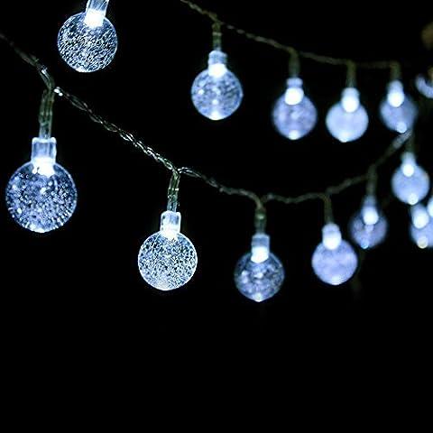KEEDA LED Globe Lichterkette, 16.4ft/5M 50er Batteriebetrieben Beleuchtung Kugel, Beleuchtung Kugel, Außen Lichterkette, Weihnachtsbeleuchtung, Weihnachten Dekoration (Batteriebetriebene Globe-leuchten)