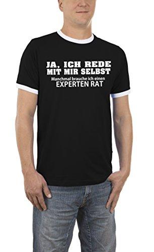 Touchlines Herren T-Shirt Ja, Ich Rede mit Mir Selbst. Kontrast, Schwarz (Black 13), Small