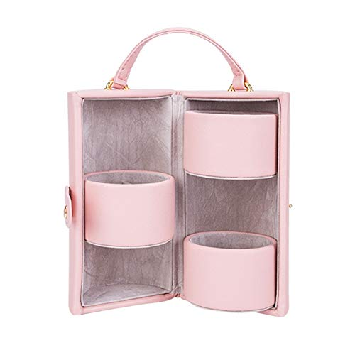 Yzyamz Schmuck Aufbewahrungsbox Kreative Tragbare Zylindrische Schmuckschatulle Mehrschichtige Flanell Ohrring Halskette Schmuck Aufbewahrungsbox (Color : Peach pink) Peach Küche