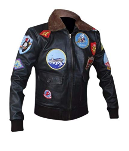 Feather Skin Echtes Leder Jacke Herren Top Gun Tom Cruise Jacke-XXL -