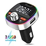 SONRU Auto Bluetooth Radio Transmitter Freisprecheinrichtung KFZ Audio Adapter MP3 Player mit QC3.0 USB Auto Ladeger/ät Unterst/ützungs TF Karten AUX Ausgang Bluetooth 5.0 FM Transmitter 7 Farblicht