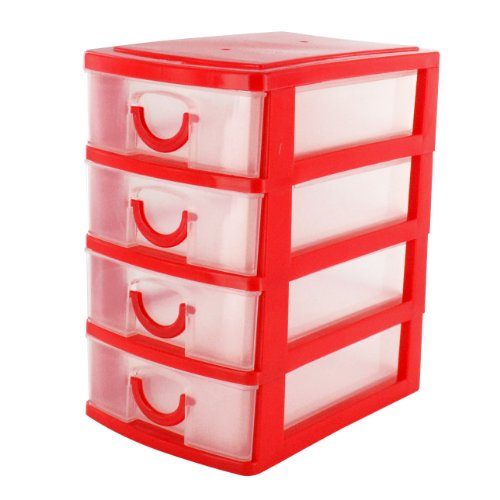 Cassettiere In Plastica Per Ufficio.Shopmonk Mini Organizer Rosso A 4 Cassetti Da Scrivania Per