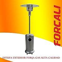 ESTUFA EXTERIOR A GAS CON RUEDAS GRIS FORJA