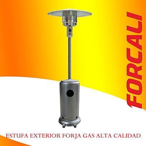ESTUFA EXTERIOR A GAS BUTANO CON RUEDAS GRIS FORJA