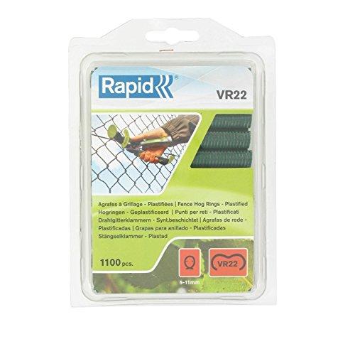 Rapid, 40108807, Agrafes de grillage galvanisées vertes, VR22, 5-11 mm, 1100 pièces, Haute qualité