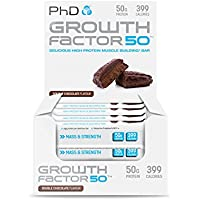 PhD Nutrition Growth Factor 50 Brownie, Double Chocolate, Pack of 12 x 100g