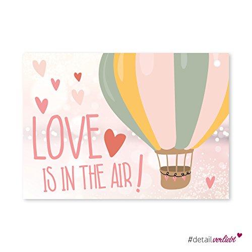 Preisvergleich Produktbild Detailverliebt! Liebevolle Luftballonkarten, Set aus 50 Postkarten zum Verteilen an die Gäste, dv_165 - ideal um die Erinnerungen an den schönsten Tag des Lebens zu behalten I Erfüllung, Love, Flugkarten, Post, Brautpaar, Ballon, Postkartengruß, Wünsche, Geschenk, Rosa, gelocht, Hochzeit, Aufgaben #detailverliebt