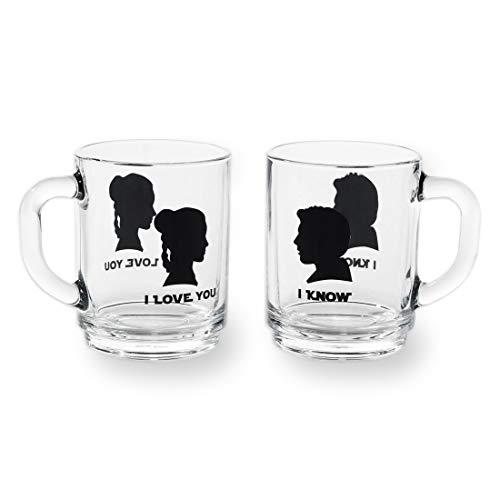 gläser-Set I love you + I know - Zwei Henkel-Gläser mit Portraits von Han Solo und Prinzessin Leia Organa aus dem Star Wars Universum ()