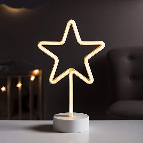 Lights4fun - Lampada Decorativa Effetto Neon a Stella con LED Bianco Caldo a Pile