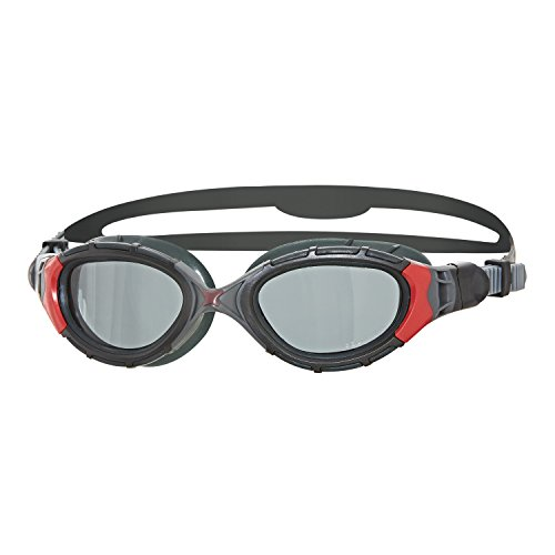 Zoggs Schwimmbrille Predator Flex Polarized, black/red/smoke, one size