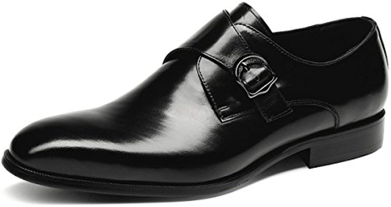 FZHLY Zapatos De Hombre Zapatos De Cuero De Negocios Zapatos De Vestir Casuales Para Hombres,Black-42