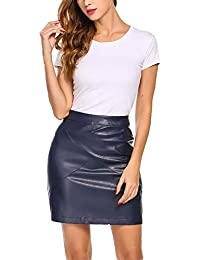 Meaneor Women Classic High Waist Faux Leather Bodycon Slim Mini Pencil Skirt