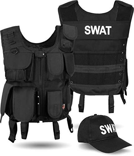 normani SWAT Agenten Kostüm Einsatzweste und Baseball Cap Farbe Black Größe M