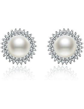 S.Vantine 925 Sterling Silber Damen Ohrstecker Ohrringe Perle Sonnenblume Set