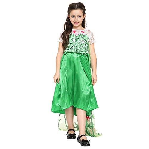 Imagen de katara  vestido de princesa para niña, traje de disfraz de elsa, la reina del hielo, vestido de frozen fever, verde con tul  6 7 años alternativa