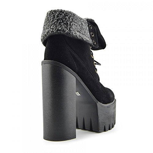 Kick Footwear - Kick Footwear Womens Block Heeled Chunky Platform Cut Out Ankle Boot Nero - D4780