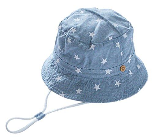 Unisex Kinder Fischerhut Cowboy Hut Frühjahr Sommerhut Sonnenhut Jeans-Baumwolle Babymütze UV Schutz Fischerhut Stern Drucken Muster Sonnenut mit Kinnriemen -