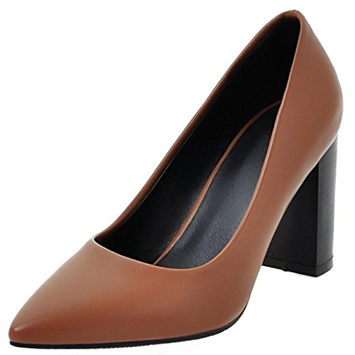 COOLCEPT Damen Fashion Slip-on Geschlossene Hochzeit Pumps Blockabsatz Pointed Toe Braun