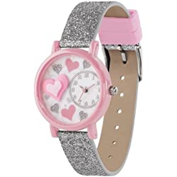 Tikkers Children's Quartz Watch with Multicolour Dial Analogue Display and Silver PU Strap TK0073