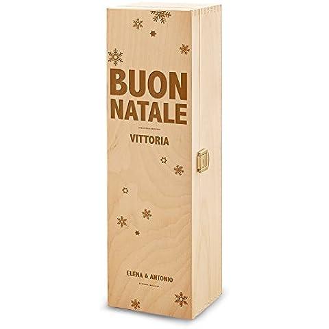 Scatola portabottiglie – In legno - Confezione per bottiglie di vino – Con incisione personalizzata – Inciso con [Nomi] - Buon Natale – Fiocchi di neve