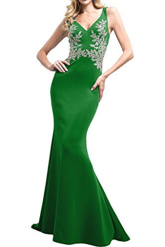 La_Marie Braut Fuchsia Trumpet V-ausschnitt Abendkleider Ballkleider Brautmutterkleider Bodenlang Grün