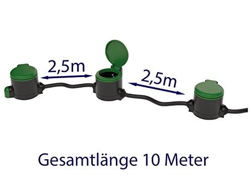 Garten Verlängerungskabel 10 Meter + Gartensteckdose mit Dämmerungssensor Outdoor Gartensteckdosen Set