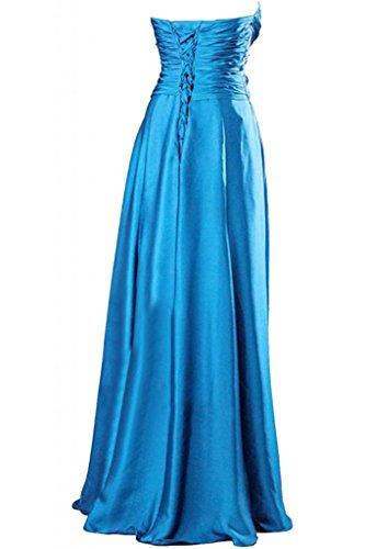 Victory Bridal Einfach Herzform Abendkleider Lang Satin Prom/Ballkleider Partykleider Brautjungfernkleider Blau