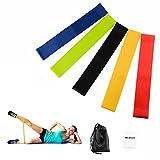 Kcdream Bande Elastique Fitness, Bande de Resistance Set (5), Équipement d'Exercices Adapté Aux Exercices Physiques, Entraînements pour Yoga, Pilates, Gym, Stretching, Entrainement Corps et Plus
