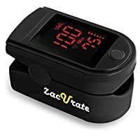 Zacurate Portable and Reliable Fingertip Pulse Oximeter, Accurate Heart Rate Monitor with Lanyard and Batteries Included (Black)