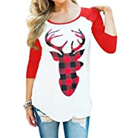 EGELEXY Women Christmas Plaid Deer Print Splicing Long Sleeve T-Shirt Tops Size M (Red)