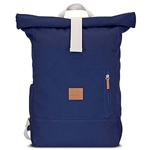 Johnny Urban Rucksack Damen & Herren Blau Roll Top Daypack aus Baumwoll Canvas - Lässiger Vintage Tagesrucksack für den Alltag - Wasserabweisend & sehr flexibel
