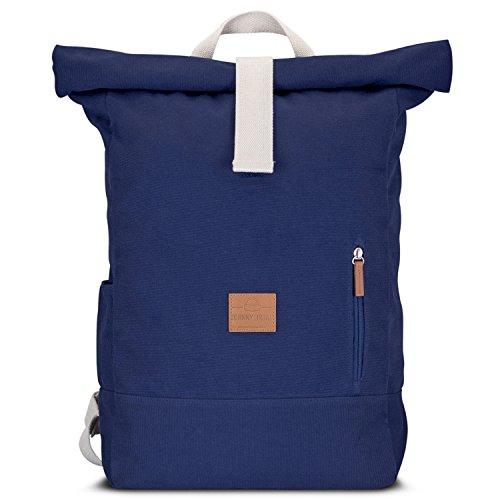 Preisvergleich Produktbild Johnny Urban Rucksack Damen & Herren Blau Roll Top Daypack aus Baumwoll Canvas - Lässiger Vintage Tagesrucksack für den Alltag - Wasserabweisend & sehr flexibel