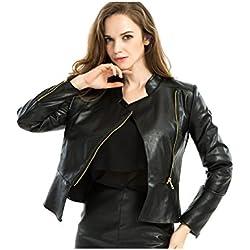 Manga larga de mujer completo con cremallera chaqueta de Moto de cuero PU Black XL