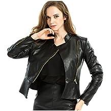 Manga larga de mujer completo con cremallera chaqueta de Moto de cuero PU