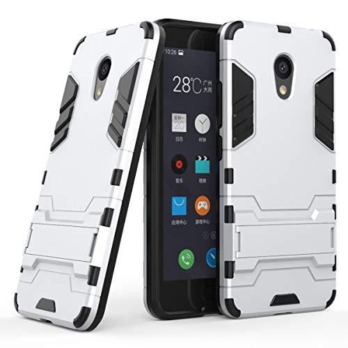 tinyue® Handyhülle für Meizu M5C, Hülle 2 in 1 Material Harte Schwer doppelte kratzfester Handyfall im Freienhandyfall Iron Man Rüstung mit Kickstand Case, Silber