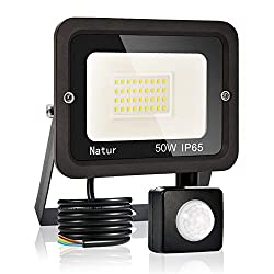 50W LED Strahler mit Bewegungsmelder Superhell LED Außenstrahler Fluter Flutlicht IP65 Flutlichtstrahler Scheinwerfer Licht für Garten, Garage,Sportplatz Energieklasse A++ (50W-3000K)