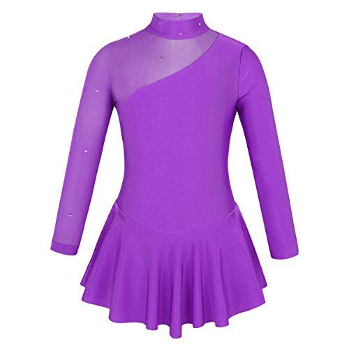ranrann Maillot de Danza Ballet para Niña Vestido de Patinaje Artístico Leotardo Body de Gimnasia Rítmica Body Baile Yoga Práctica Traje de Bailarina Morado 12 Años