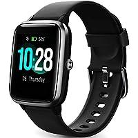 Montre Connectée Femmes,Montre Intelligente Homme IP68Etanche Bracelet Connecté Cardio Podometre Smartwatch Sport Fitness Tracker d'Activité Contrôle de la Musique pour Android iPhone (Noir)
