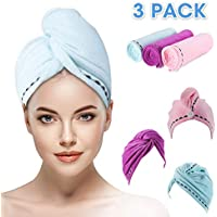 OUTERDO 3 Pack Microfiber Hair Towel Wrap Towel Twist Turban Super Absorbent Fast Dry Hair Caps Fasten Salon Dry Hair Hat with Buttons Bath Loop Pink-Blue-Purple