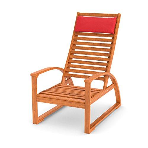 Ampel 24 Bequemer Gartenstuhl mit Armlehne aus Holz sibirischer Lärche wetterfest, Hochlehner mit Kissen rot, Gartenmöbel Serie Stockholm