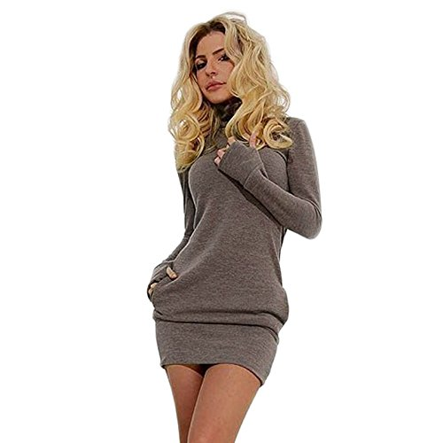 LUVERSCO Damen Bodycon Lange Ärmel Abend Party Solide Kurz Mini Kleid Kleider T-Shirt (Kaffee, M) (Rock Petite-denim A-linie)