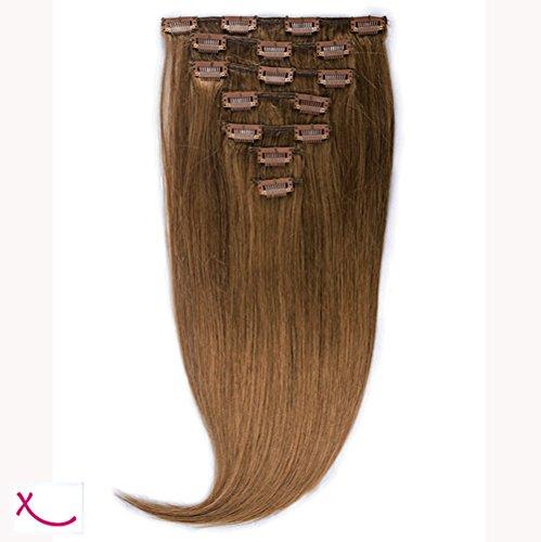 Extiff - Extension à clip cheveux 100% naturel - 60cm 120gr - (5 - Caramel)
