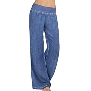 WSSB Women Casual High Waist Elasticity Denim Wide Leg Palazzo Pants Jeans Trousers (S, B)