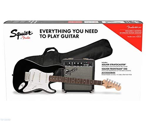 Fender Stratocaster Pack SSS Black + Frontman 10G + Funda + Accesorios