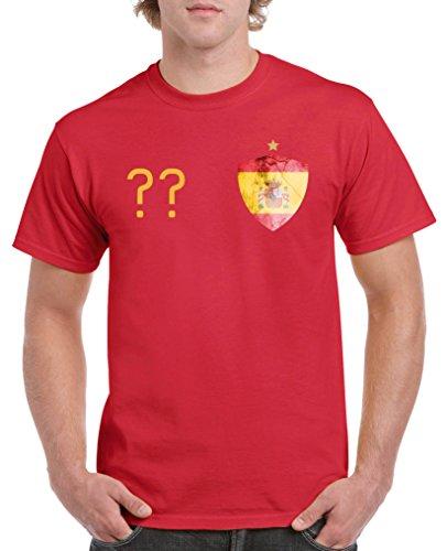 Comedy Shirts - Spanien Trikot - Wappen: Klein - Wunsch - Herren T-Shirt - Rot / Gelb Gr. S (Spanien V-neck Fußball-herren)