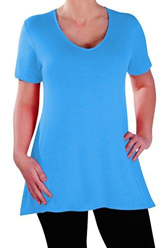 Eyecatch - Delphine V-Ausschnitt Damen Übergröße Oberteile Kurz Hülle Lässig Frauen Lang Abgefackelt T-Shirt Tunika - Catch V-neck T-shirt