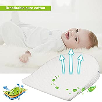 Waroomss Baby Keilkissen, Universal Memory Resilience Baumwolle & Wasserdichte Schicht Abnehmbare Abdeckung Anti Reflux Kissen Für Baby Matratze Und Schlaf 2