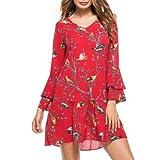 #1: Hannea Bird Print Drop Waist Bell Sleeve Mini Dress
