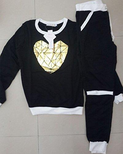 Donna Tuta da Ginnastica Tute Felpa Moda Tunique Casual Training Abbigliamento Sportivo 2 Pezzi Giacca + Pantaloni Nero